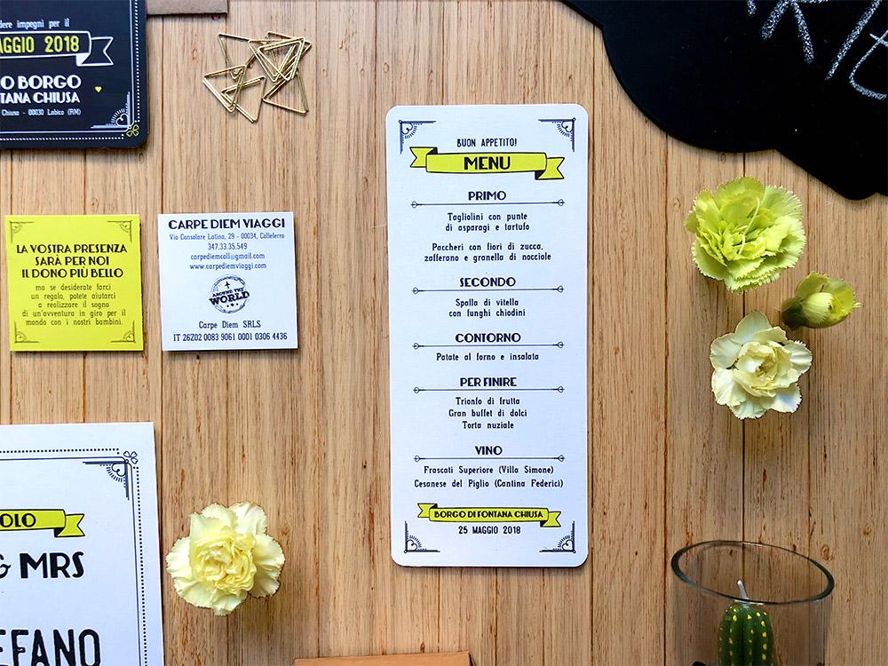 partecipazioni matrimonio personalizzate nere e lime, menu