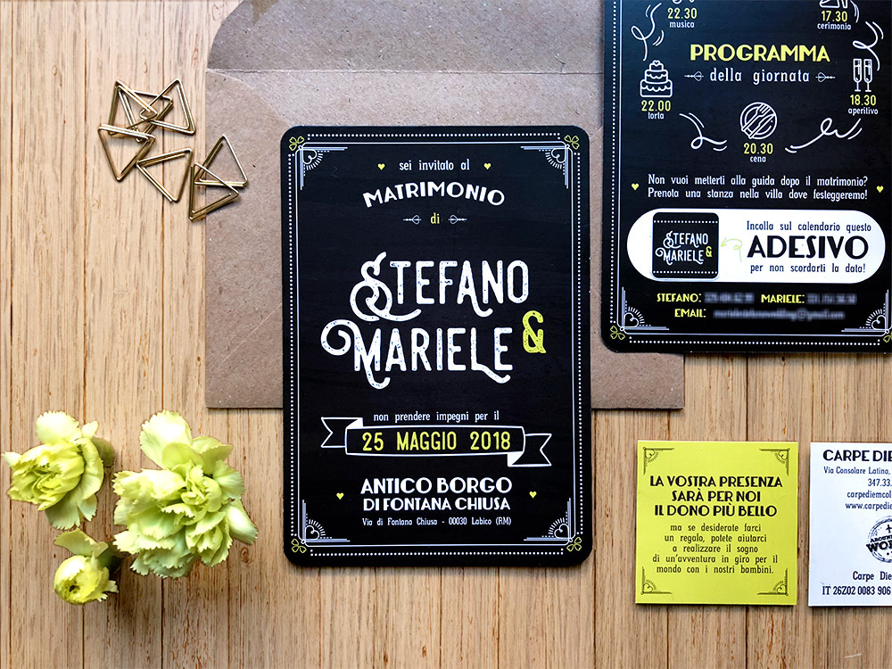 partecipazioni matrimonio personalizzate nere e lime, lavagna