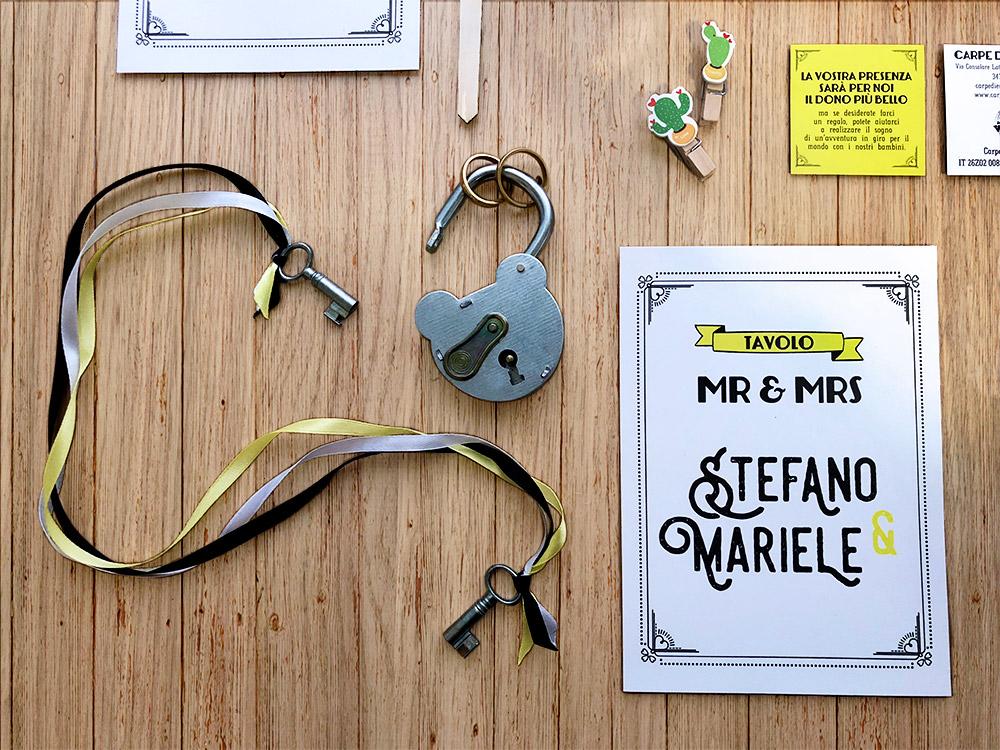 portafedi originale lucchetto antico e tableau de mariage personalizzato